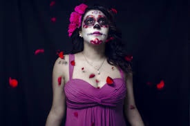 person woman celebration red fashion dead lady skull makeup face performance beauty creepy terror