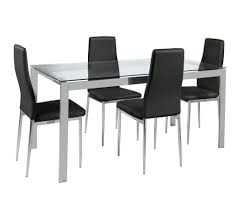 hygena pluto glass top dining table and 6 chairs black