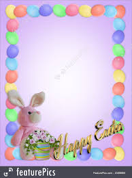 easter stationery templates easter border eggs and bunny stock illustration