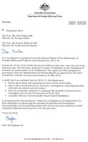 Letter Of Transmittal Dfat Annual Report 2013 14