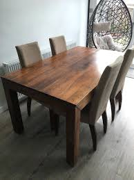 mango wood dining table dark x and 4 chairs round pedestal