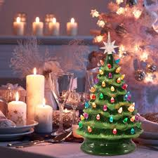 Artificial Christmas Tree Candle Lights Brightown Ceramic Christmas Tree Battery Operated Tabletop