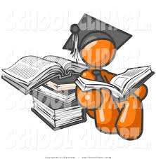 royalty stock school designs of graduates orange male student in a graduation cap sitting and reading a book and leaning against a stack of books