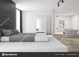 Moderne Schlafzimmer Und Badezimmer Interieur Stockfoto