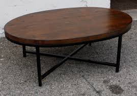 Coffee Table Wilshire Custom Oval Los Angeles Reclaimed Wood Top And Iron  Oblong Tables
