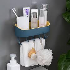 bathroom wall shelf with hooks towel