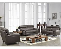 Leather Sofa Set In Grey Color ESFSET - All leather sofa sets