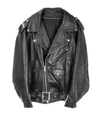 a black leather jacket with silver zipper and snaps