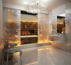 modern gas electric fireplace in luxury bathroom design with floating white gloss washing stand under large
