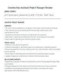 Sample Resume Construction Assistant Project Manager Template For