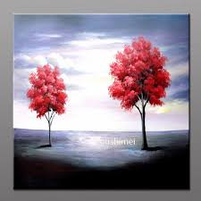 handmade modern pictures on canvas oil painting no frame red tree paintings for living room wall
