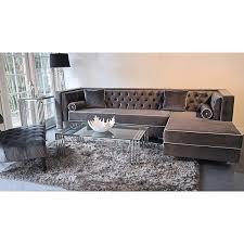 grey velvet tufted sofa. Beautiful Velvet Decenni Custom Furniture U0027Tobiasu0027 Grey Velvet Tufted 95foot Sectional Sofa   Overstock Shopping The Best Prices On Sofas U0026 Loveseats For