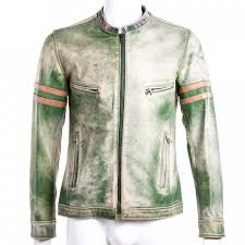 dolce gabbana mens green distressed leather motorcycle jacket