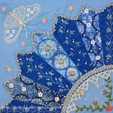 751 best Crazy Quilting 3 images on Pinterest | Crazy quilting ... & Part of a Crazy quilt by Lisa P. Boni - Dresden Plate fans with embroidery Adamdwight.com