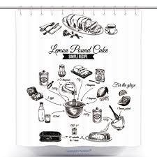 Amazonvanfan Cool シャワーカーテン ベクター 手描き レモンケーキ