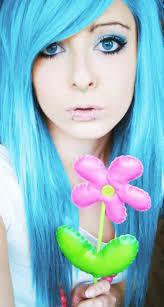blue long emo scene hair style for s site model bibi barbaric from germany pink flower eyes make up piercings
