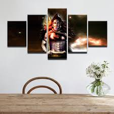 Small Picture 5 Piece India God Shiva Painting Canvas HD Print Poster Modular