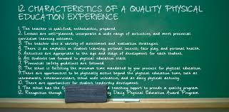 characteristics of a quality physical education experience 12 characteristics of a quality physical education experience