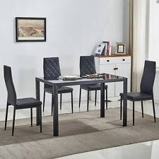 black dining room furniture sets. Fine Room 5 Piece Glass Metal Dining Table Set W4 Chairs Kitchen Room Breakfast  Furniture With Black Sets
