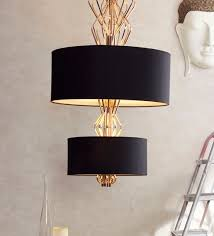 black gold metal linen chandelier by jainsons emporio