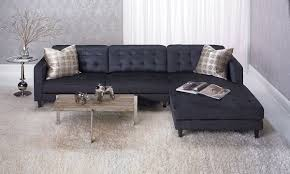 Picture Of Contemporary Tufted Sofa With Oversized Chaise In Dark Grey Grey Tufted Sofa N5