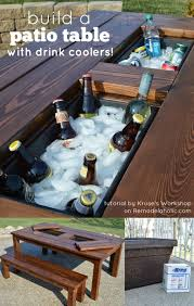 Diy patio table Chevron Top Diy Patio Table With Drink Coolers remodelaholic Remodelaholic Remodelaholic Build Patio Table With Builtin Ice Boxes