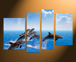 4 piece huge pictures home decor fish canvas wall art wildlife large pictures on dolphin canvas wall art with 4 piece huge canvas print blue canvas photography ocean canvas