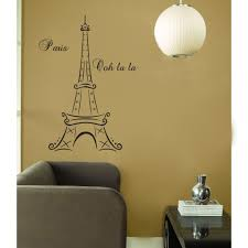 awesome paris themed bedroom with brown sofa matched with brown wall with paris theme plus chandelier