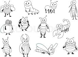 stock vector of funny cartoon outline colorless bee ant ladybug fly