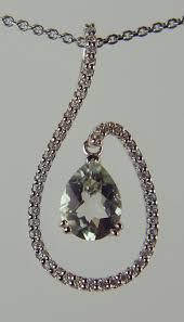 green quartz and diamond pendant