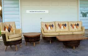 vintage whiskey wine barrel rec room furniture bar stools sofa chairs tables 60s