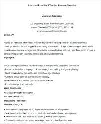 Preschool Teacher Assistant Resume assistant preschool teacher resume mattbrunsme 37