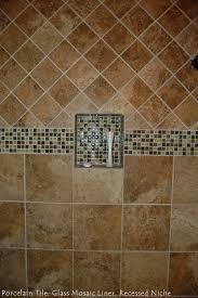 porcelain tile glass mosaic liner recessed niche