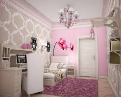 bedroom chandeliers for girls. alluring small bedroom for girls with geometric wallpaper also tufted cushioned on pink shag rug chandelier room chic loft teen idea girl sloped ceiling chandeliers
