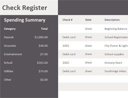 Microsoft Excel Checkbook Template Check Register Excel