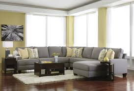 Living Room With Sectional Sofas Furniture Luxury Grey Leather Sectional For Elegant Living Room