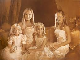 family portrait painting of 4 sisters