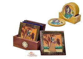 Small Picture Buy India Gemstone Painting Wooden Tea Coasters Online Shopping