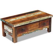 vidaxl solid wood coffee table drawers reclaimed 90x45x35 cm lowboard desk