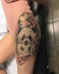 Panda Plum Blossom Hip Tattoo Tatto татуировки татуировка