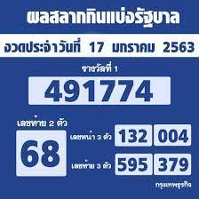 ผลสลากกินแบ่งรัฐบาล ตรวจหวย งวด 17 มกราคม 2563