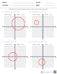graphing equations of circles worksheets