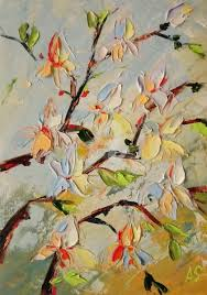 magnolia flowers original palette knife oil paint painting 30x21x0 1 cm