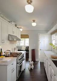 galley kitchen lighting ideas. Schoolhouse Semiflush Mount Lighting In This Small Kitchen Galley Ideas T