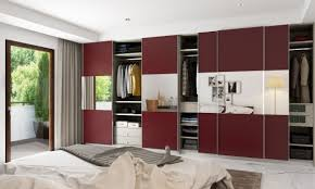 Dual Colour Wardrobe Designs This Chic Looking Wardrobe Is Brushed With A Maroon High