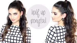 Half Ponytail Hairstyles Hair Tutorial Ariana Grande Big Half Up Ponytail Youtube