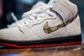 gucci nike shoes. the shoe surgeon\u0027s new nike sb customs feature gucci print and real sheepskin shoes g