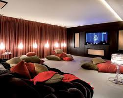 photos cool home. Amazing Home Theatre Design Ideas: Cool Ideas With Black Comfortable Sofa Green And Teracotta Large Cushion Standing Lamp Crystal Table Photos
