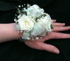 clic white rose wrist corsage in portland me dodge the florist