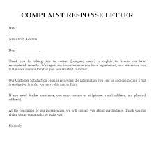Complaints Letter Format Complaint Response Letter Free Sample Letters